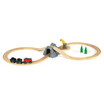 Her er en brio togbane med klassisk brio kran