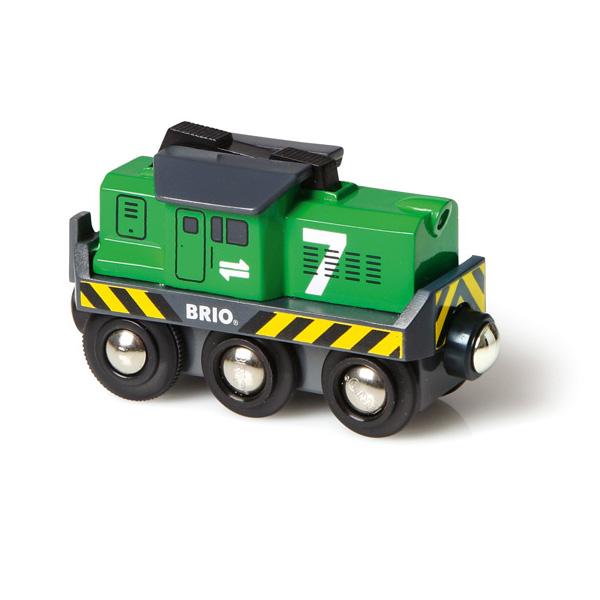 ett BRIO lokomotiv som er batteridrevet