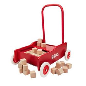 Den klassiske BRIO gåvogn tunet med 50 legeklodser