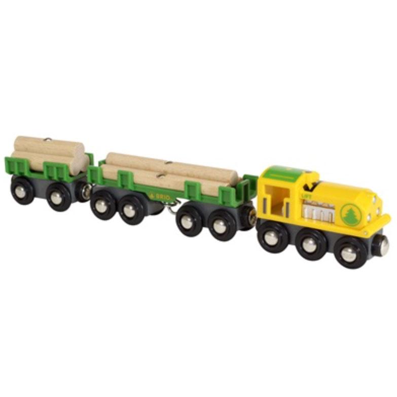 BRIO togsæt med lokomotiv, vogne og træstammer som last