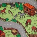 Detaljer af hestefold på trafiktæppet vises her