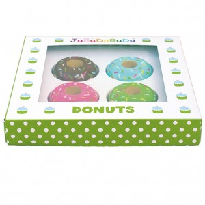 Gaveæske med 4 donuts som legemad i træ fra Legetøj Online
