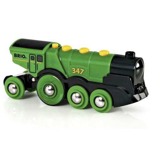 Grønt elektrisk BRIO lokomotiv med lyd og lys