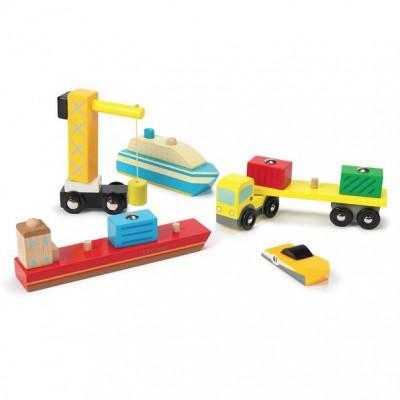 Havnesættet Dock and Harbour Set fra Le Toy Van passer i din samling af legetøjsbiler