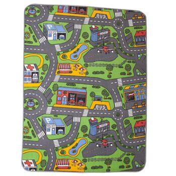 Trafiktæppe fra Legetøj Online ses her komplet til børnenes legetøjsbiler