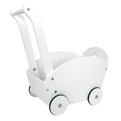 Hvid dukkevogn i træ med gummihjul