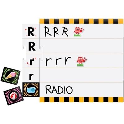 Her ses indholdet af læringsspillet Skriv alfabetet fra algas learningsserie
