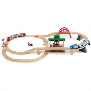 Travel Switching Set togbanen stillet op med alle dele samlet