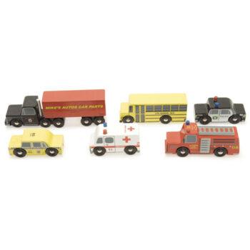 Legetøj Online leverer dette New York legetøjsbilsæt fra Le Toy Van