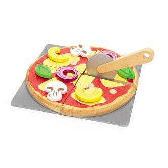 Pizza som legemad i træ fra Le Toy Van leveres af Legetøj Online