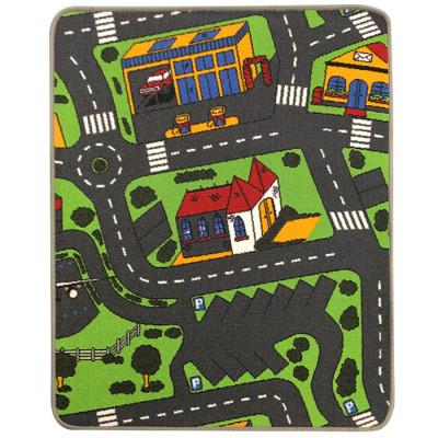 Trafiktæppet til biler fås i flere varianter, dette er med parkering som tema