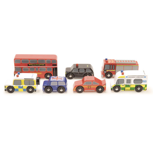 Hele 7 legetøjsbiler fra Londons gader produceret af Le Toy Van