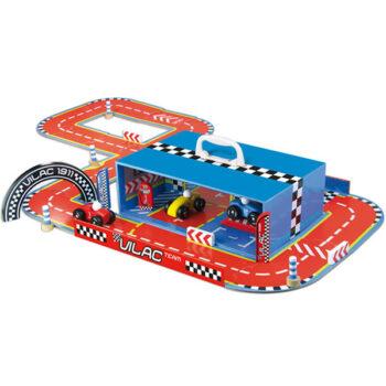 Racerbane fra franske Vilac med legetøjsbiler i træ