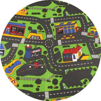 Rundt legetæppe til bilerne med lufthavn og værksted som hovedtema