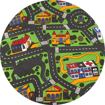 Stort rundt trafiktæppe med rundkørsel og parkering som hovedtema