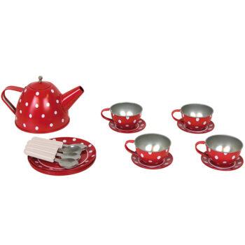 Rødt tesæt med hvideprikker