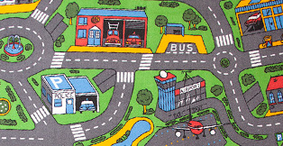 Legetøj Online har et stort udvalg af trafiktæpper og legetæpper til biler