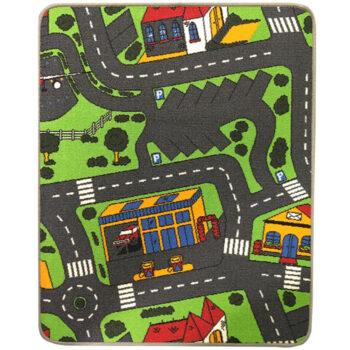 Trafiktæppe til legetøjsbiler med parkring som den centrale del