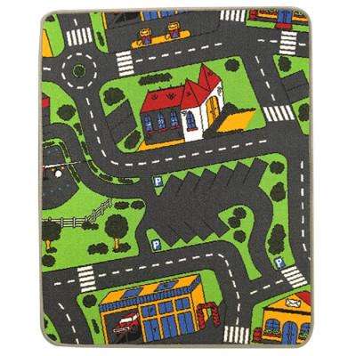 Trafiktæppe til legetøjsbilerne med parkering som tema