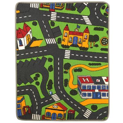 Trafiktæppe til legetøjsbiler i størrelsen 80 x 100 cm
