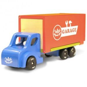 Trælastbil fra Vilac en klassisk legetøjsbil med autoværksted på ladet